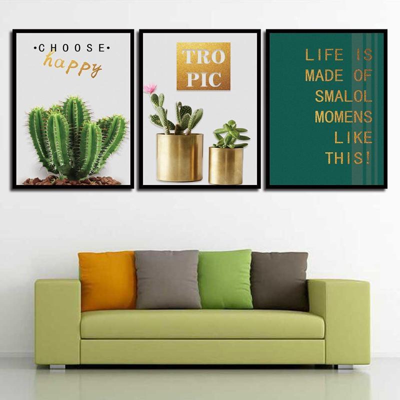 Sanat Salon Duvar Resmi Dekorasyon Boyama Modern Baskılar Nordic Stil Moda Poster Yeşil Bitki Kaktüs Ve Mektupları Tuval