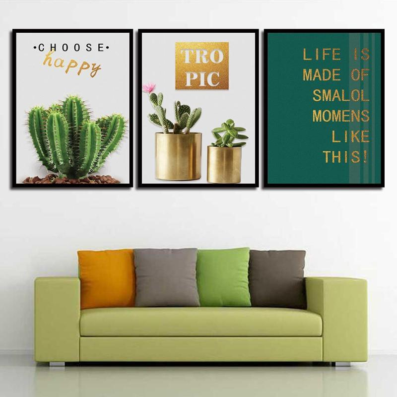 Stampe moderne di stile nordico modo di poster verde pianta di cactus e lettere della tela di canapa della pittura di arte della parete del salone Decorazione Quadro