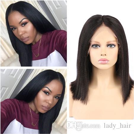 흑인 여성을위한 가벼운 야키 풀 레이스 인간의 머리 가발 내츄럴 블랙 말레이시아 버진 헤어 그루 레스 레이스 프론트 가발 중간 부분 130 밀도