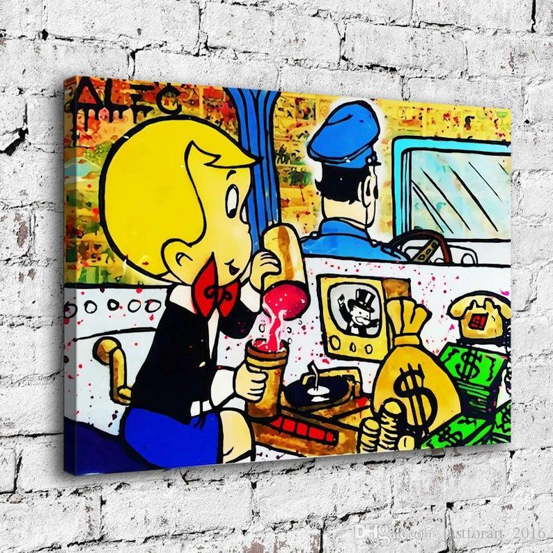 Pintado a mano la pintura al óleo Alec Monopoly Decoración Arte de la pared en la lona Richie Rich dentro de la limusina 24x32inch sin marco