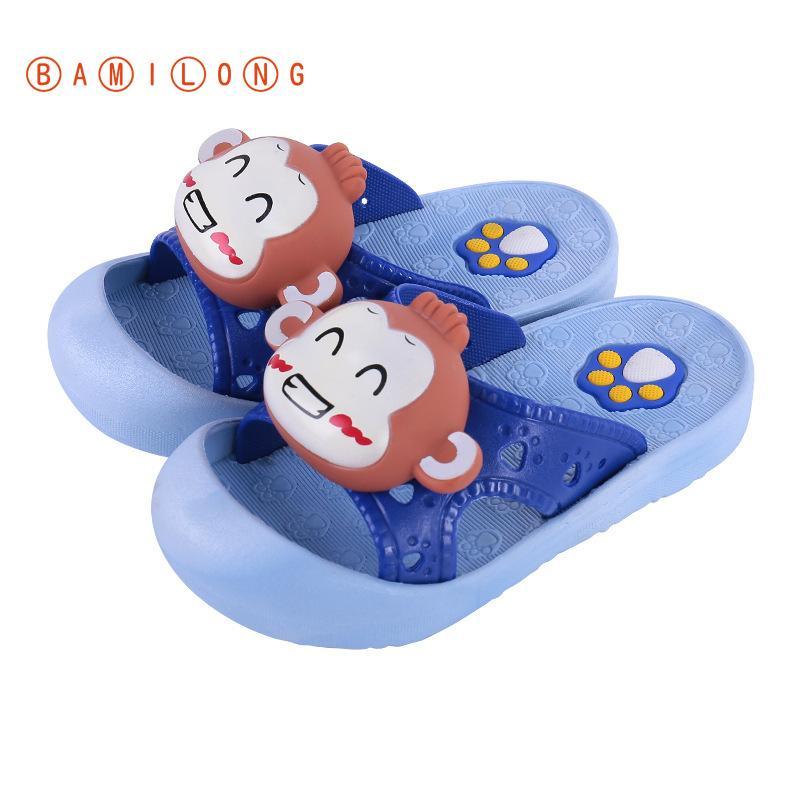 BAMILONG Çocuk Plaj Terlik Yaz Boy Ev Kaymaz Ayakkabı Kız Karikatür Maymun Terlik Çocuk Banyo Kapalı Ayakkabı K88