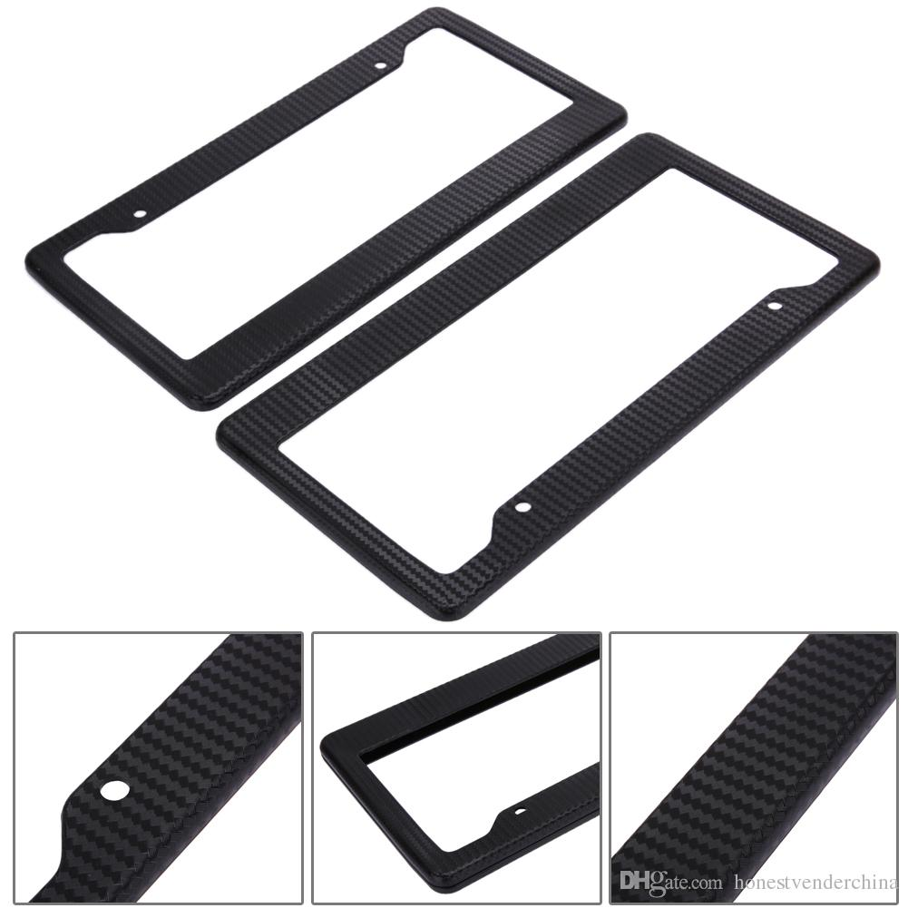 2 x Black Aluminum Alloy Car License Plate Frame Tag Cover Holder With Screw Cap