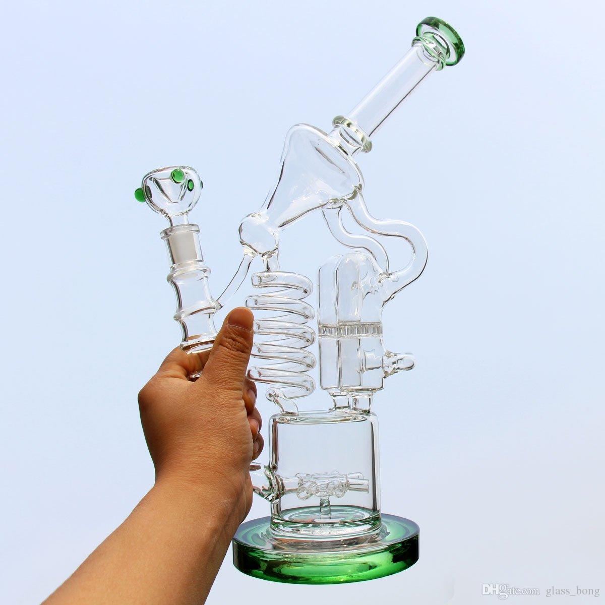 Büyük Recycler Nargile Bong Sigara Cam Boru 31 CM Yeşil Su Boruları Kabarcıklar 14.5mm Kalın Bongs