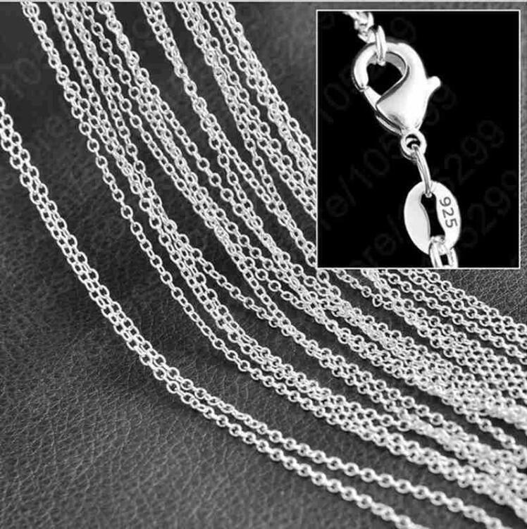 New 925 sterling silver plated thin chain necklace size 1mm 16-24 inche SC01 Hot 925 silver plated Woman Lobster Clasps Smooth Chain jewelry