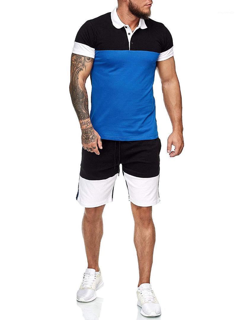 Trajes de diseñador masculino ropa de verano para hombre camisas pantalones cortos de la manga fija 2pcs chándales casuales de la moda panelados