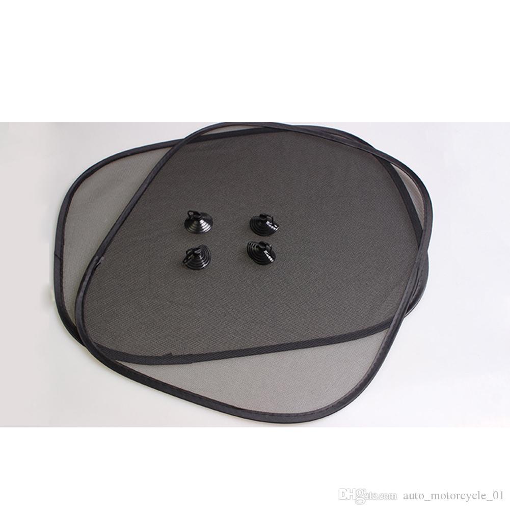 4 흡입 컵 도매 - 2 개 세트 검은 색 자동차 태양 그늘 사이드 뒷 유리 차양 커버 44x36cm 바이저 쉴드 화면 태양 보호