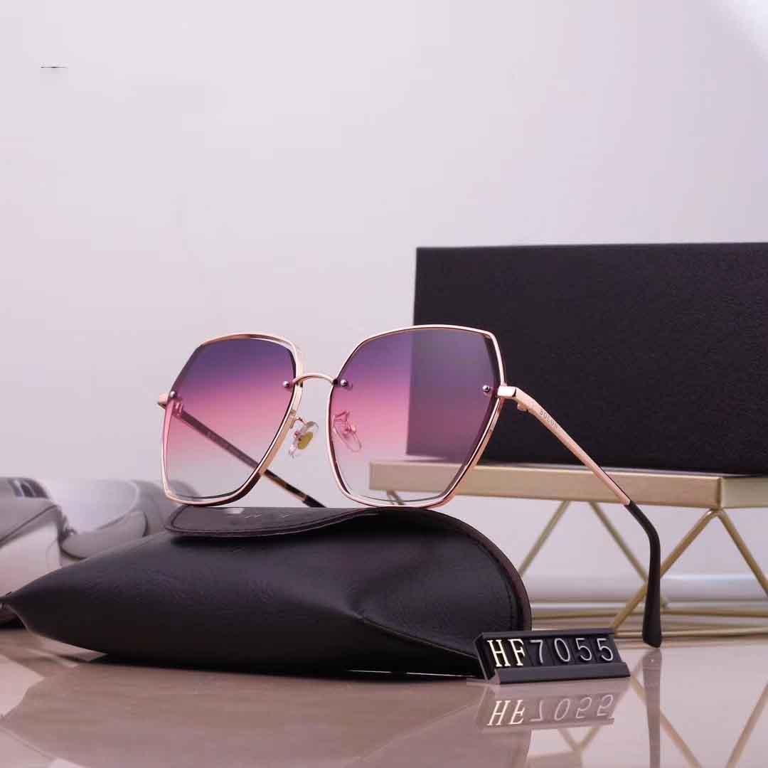 7055 إطار الموضة الطيار نمط القيادة النظارات الشمسية الرجال النساء الكلاسيكية خمر معدنية نظارات شمسية مع القضية الأصلية ومربع
