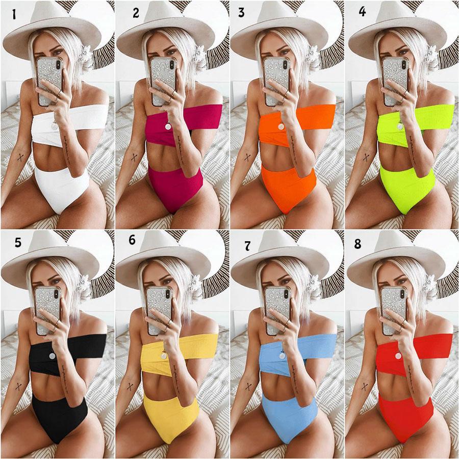 Solide Unregelmäßige Schulter Bikini 8 Farben Bademode Frauen Bandage Split Hohe Taille Badeanzug Badeanzug Beachwear C6531