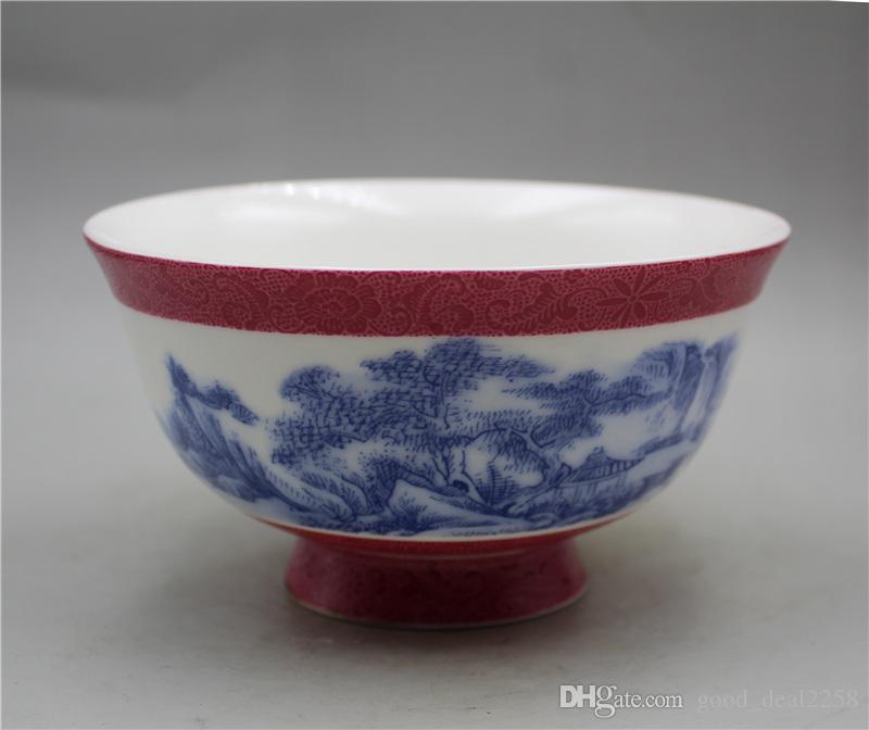 Китайский фарфор ручная роспись картины чаша Пейзаж ж Цяньлуна Марк A10