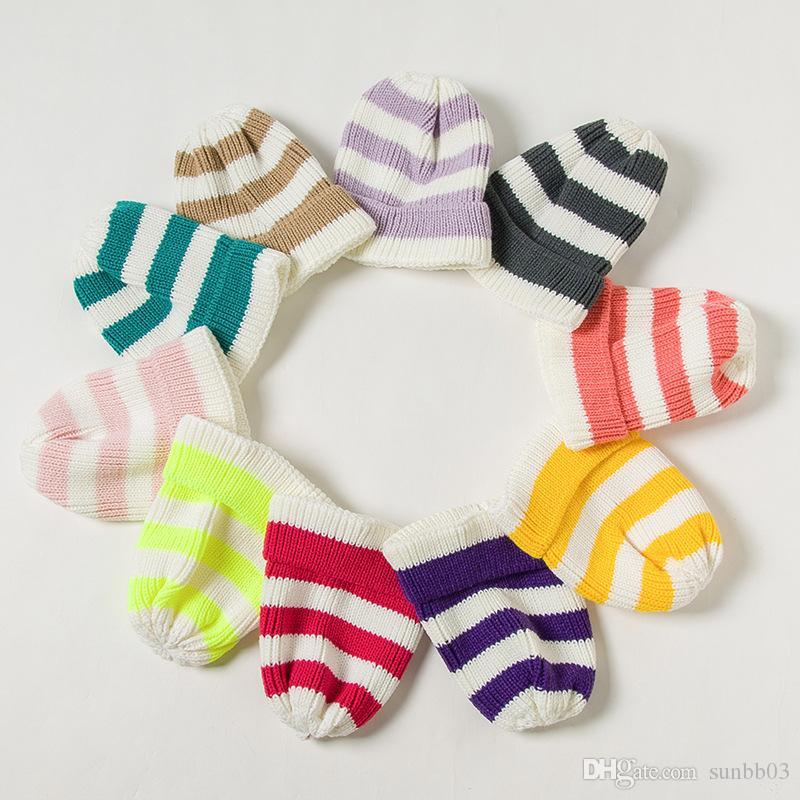 New Autumn Winter Kid Baby Girls Boys Stripe Knit Hat Kids Knitted Beanies Skull Caps Children Warm Hats 15233
