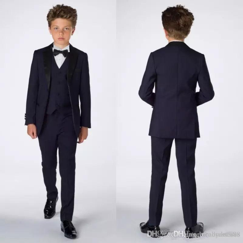 Smart Teens Tuxedo Custom Made Children Party Formal Pant Suits Dinner Suits Wedding Groom Tuxedos For Boys(Jacket+Pants+Vest+Bowtie) B001