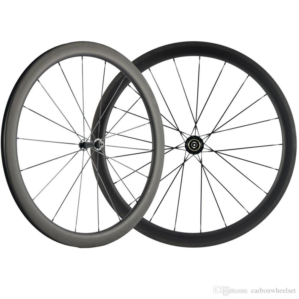 Carbonio della graffatrice Wheelset della bicicletta della strada 700C Carbon Wheels larghezza di 25mm nero R13 Hub 3k Superficie Brake