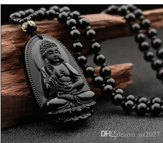 Natural Obsidian Guanyin Buddha Pendant Men039; s Wear Guanyin Women039; s Dai Buddha Couple Necklace National Wind