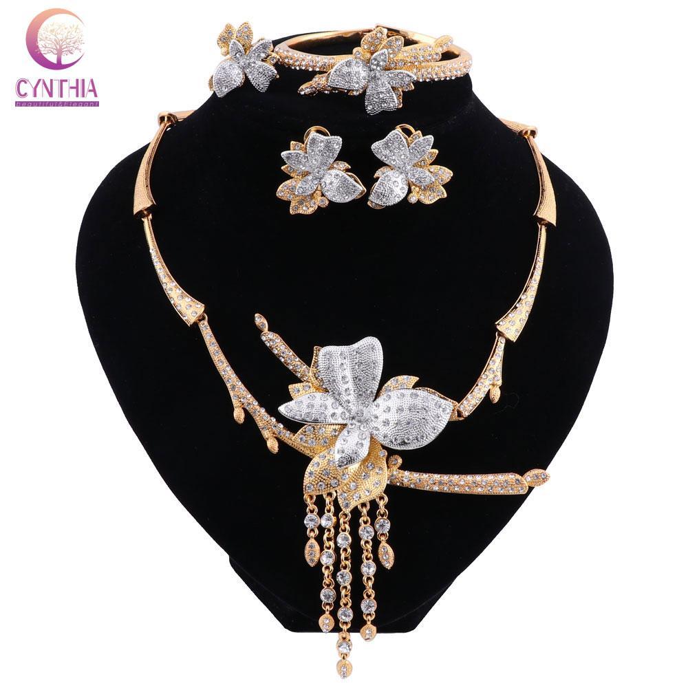 CYNTHIA دبي للذهب لون مجموعات مجوهرات العلامة التجارية النيجيري المرأة اكسسوارات الزفاف مجموعة مجوهرات الأزياء بيان مجموعة