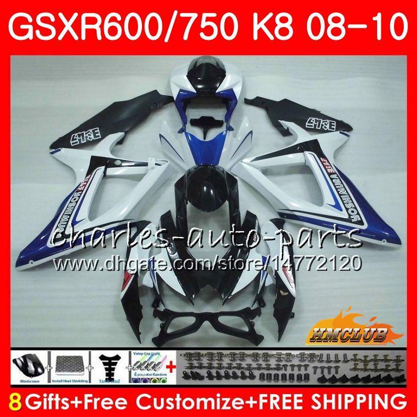 Bodys For SUZUKI GSXR 600 750 GSX R750 R600 GSXR600 08 09 10 9HC.68 GSX-R750 GSXR-600 blue white new K8 GSXR750 2008 2009 2010 Fairing kit