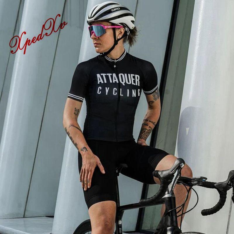 Unisex attaquer Radtrikot 2020 Alle schwarz mit Logo Männer Frauen Fahrrad fahren Sportabnutzung Straßenfahrradhemden Kurzarm Jersey