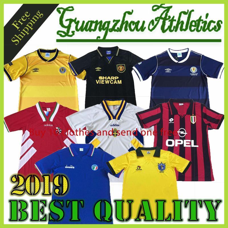 Versión retro 1998 ajax retro del fútbol camisetas de fútbol final jersey de fútbol Giggs SCHOLES Beckham RONALDO 98 99 CANTONA KEANE negro 1994
