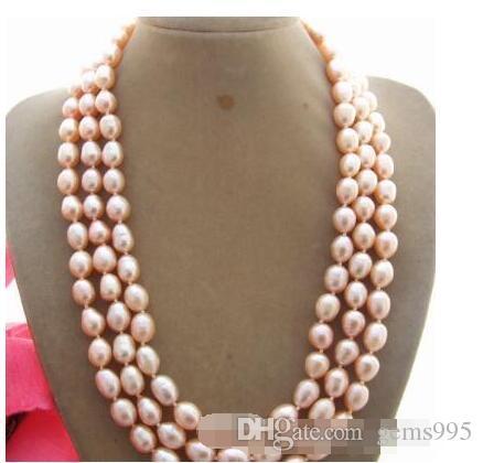 Halskette Freies Verschiffen +++ 3Strad Natürliche 8x10mm rosa Perlenkette 17-19 ''