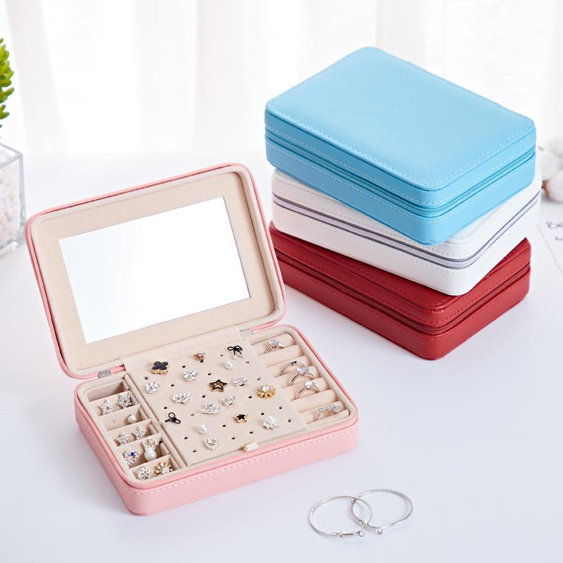 Fashion Travel Leather Earrings Ring Necklace Multi-function Jewelry Storage Box