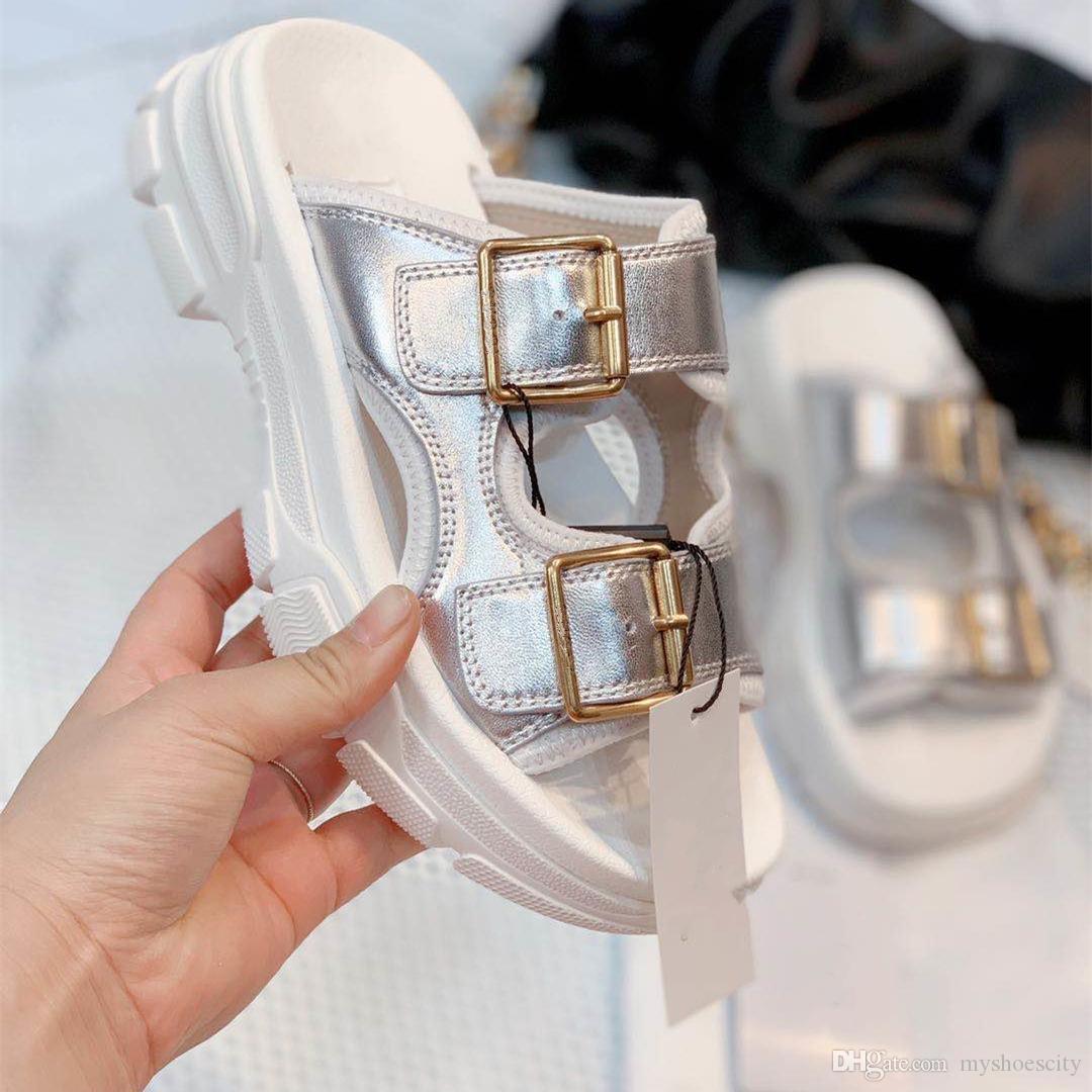 origen paquete de la plata del metal del oro diapositivas de cuero blanco de cuero reales del cowskin sandalias de plataforma de diseño de lujo de las mujeres diseñador shoestradingbear