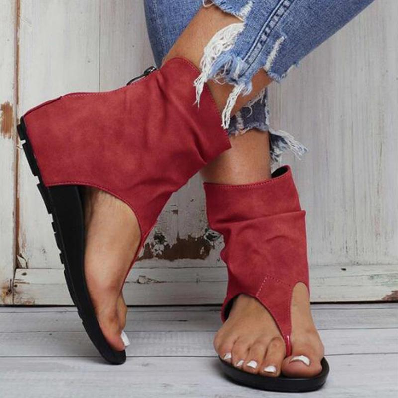 Женская обувь Сандалии лето дамы клип Toe FlatPlatform PU кожа Гладиатор Женский флип-флоп Zipper Plus Размер вскользь женщина CX200619