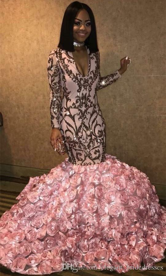 Sirène Paillettes Fleurs Bas Appliqué Robes de soirée 2019 Rose d'or rose V-neck Floral Rose africaine 3D robes de bal Robes occasions de soiré