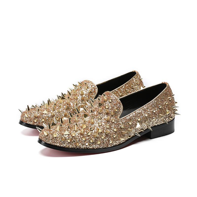 Взлетно-посадочная полоса Shinning Шпилька мужчина платье обуви поскользнуться на золото шипа обуви шику блеск мокасины Свадьба Мужчина Квартира заклепки обуви