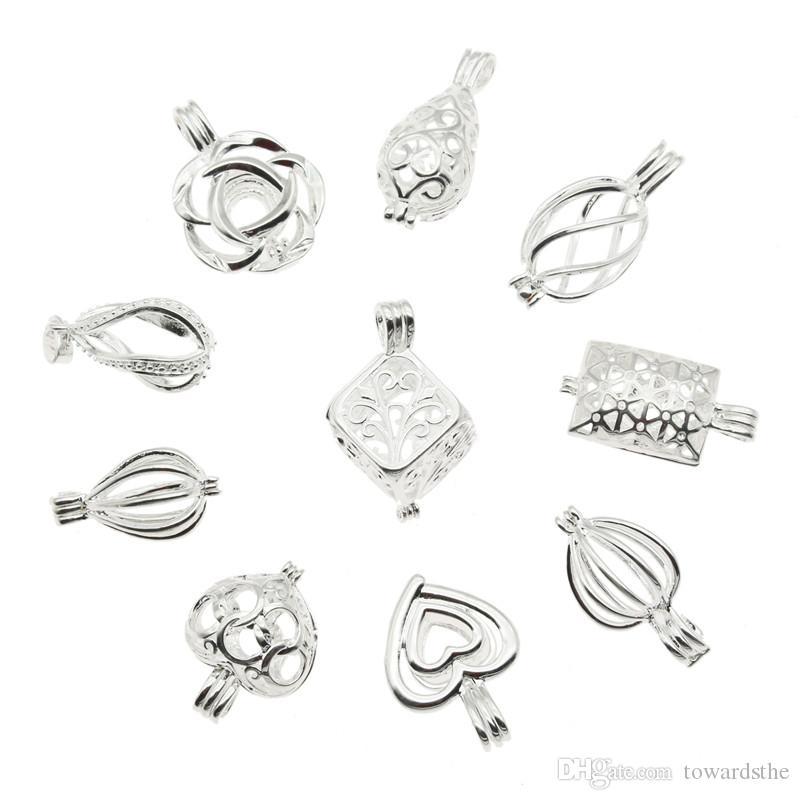 10pcs mixtes perles cage pendentifs pendentifs classiques argent couleur aromathérapie huile essentielle huile diffuseur bijoux collier bricolage bijoux