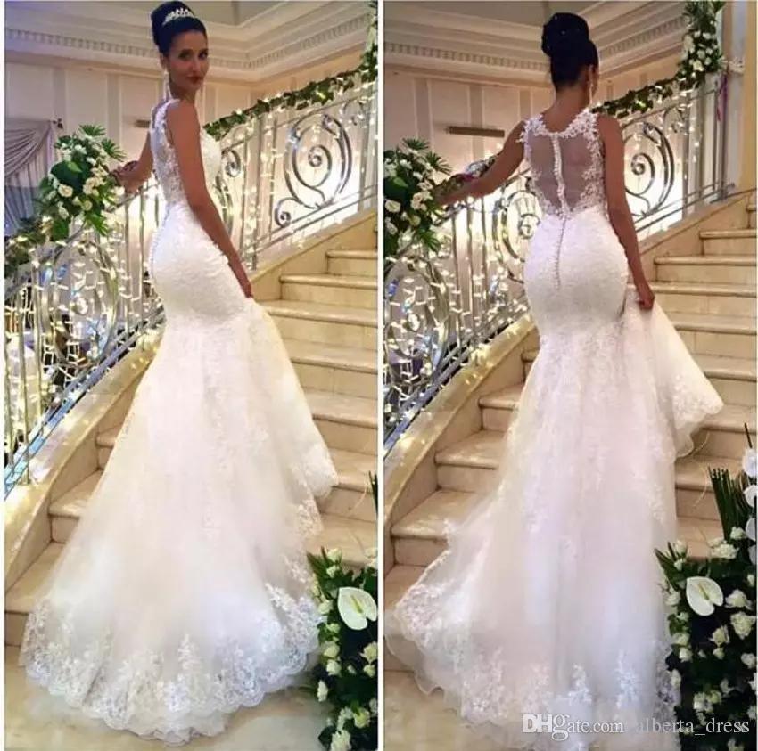 Сексуальные винтажные кружева 2020 русалка свадебные платья иллюзия обратно разведка поезда кружева аппликационные тюль с покрытыми кнопками свадебные платья