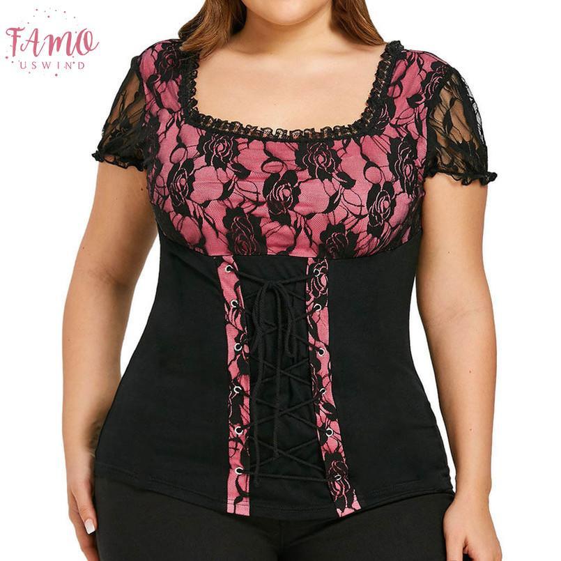 Plus tamaño de mujeres blusa y tops casuales remiendo atractivo del cordón del cuello del cuadrado de la manga corta de encaje floral Hasta Blusas para damas Hembra camisas