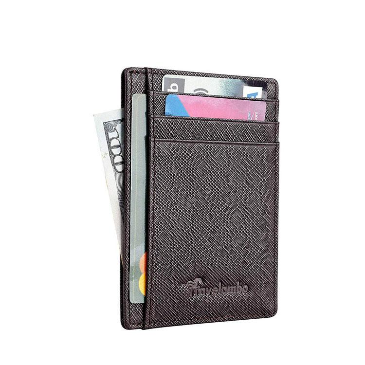 Layer cross grain cow pickup package demagnetization proof $clip card sets of custom wallet manufacturer