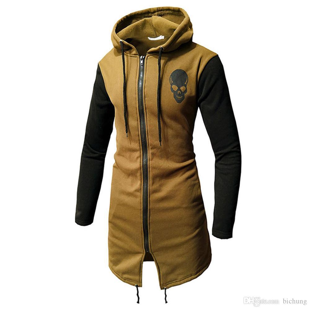 Mens Autumn Winter Casual Hoodie Zipper Long Sleeve Top Sweatshirt Jacket Coat