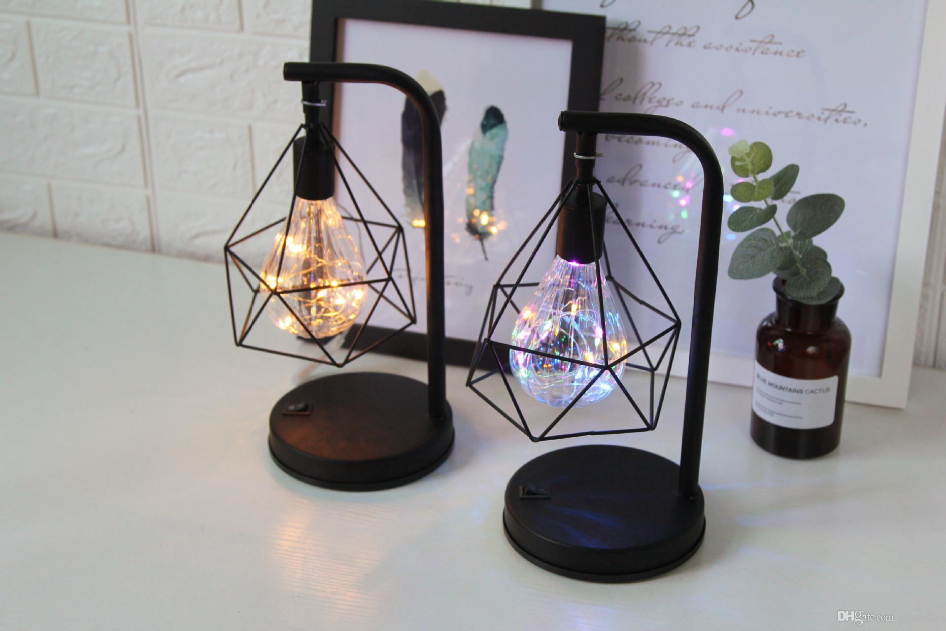 Criativo feriado Retro Ferro Arte Minimalista Diamante Diamante Lâmpadas Leitura Lâmpada Night Light Light Mesa Iluminação