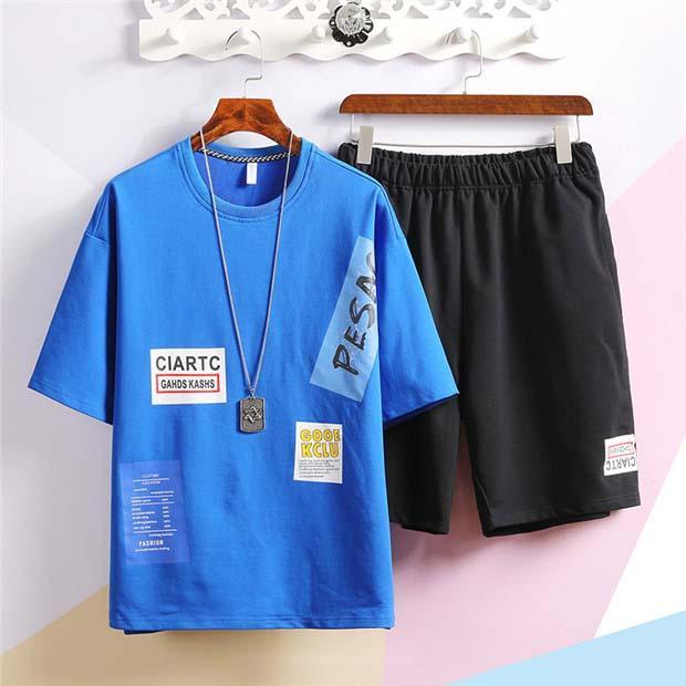 Дизайнерские Мужские спортивные костюмы 2020 Новая мода Письмо печати летние мужские футболки + шорты брендовые мужские повседневные спортивные костюмы 3 цвета размер S-3XL
