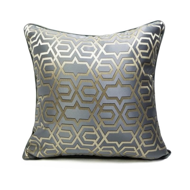 Modern Moda Lüks Geometrik Jakarlı Dokuma Gri Mavi Turuncu Pipping 45 x 45cm Yastık Kılıfı Ev Dekoratif Koltuk Kanepe Yastık Kapak