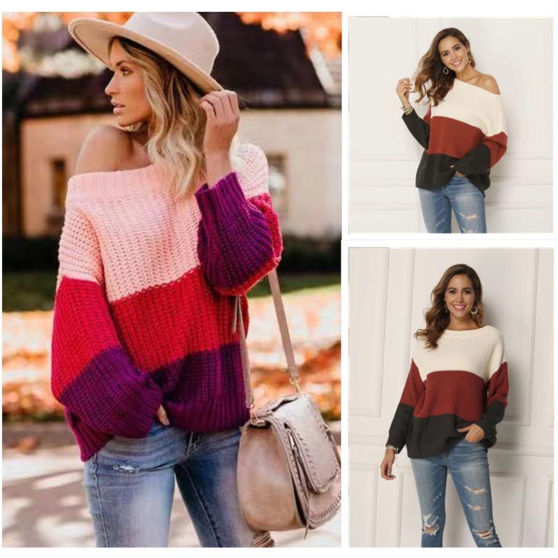 2019 automne et d'hiver nouveaux chandails des femmes de couture et pull-overs pull lâche plus la taille chandail à manches longues