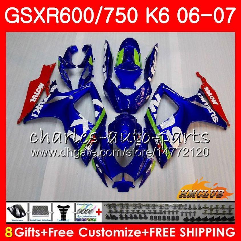Körper für Suzuki GSX R600 GSX-R750 GSXR-600 GSXR600 06-07 8HC.0 GSX R750 GSXR 600 750 06 07 K6 GSXR750 2006 2007 Verkleidungsset Neue Fabrik Blue