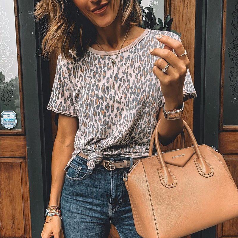 2020 лето новые дамы сексуальный леопарда печати дна рубашка с коротким рукавом футболки