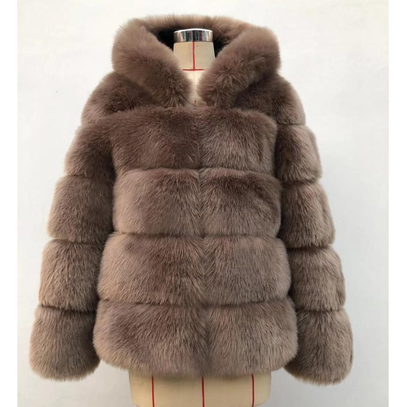 Mode-ZADORIN 2018 Hiver chaud épais manteau en fausse fourrure femmes Taille Plus HoodeSleeve en fausse fourrure de luxe Manteaux d'hiver bontjas
