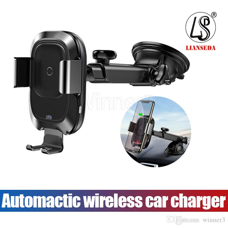 For Iphone X Fast Wireless Charger Car Mount Vehicle Quick Qi Wireless Charging Dock for Samsung with package