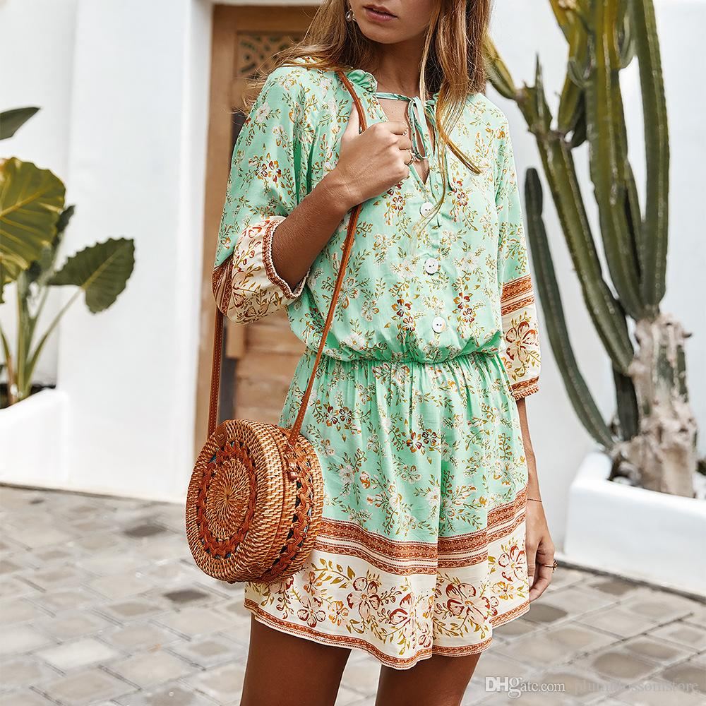 Spring Summer Floral Print Jumpsuits Fashion Long Sleeve Buttoned Casual Rompers Women Playsuits Bohemian Holiday Beach One Piece Overalls