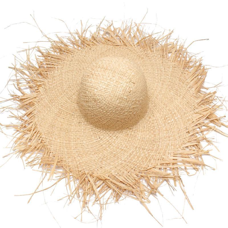 Atacado Mulheres Chapéu de Sol de Verão Com Um Grande Brim Senhoras Ráfia Chapéu De Palha Franja Grandes Chapéus De Praia Para Férias Sombrero Hombre Verano