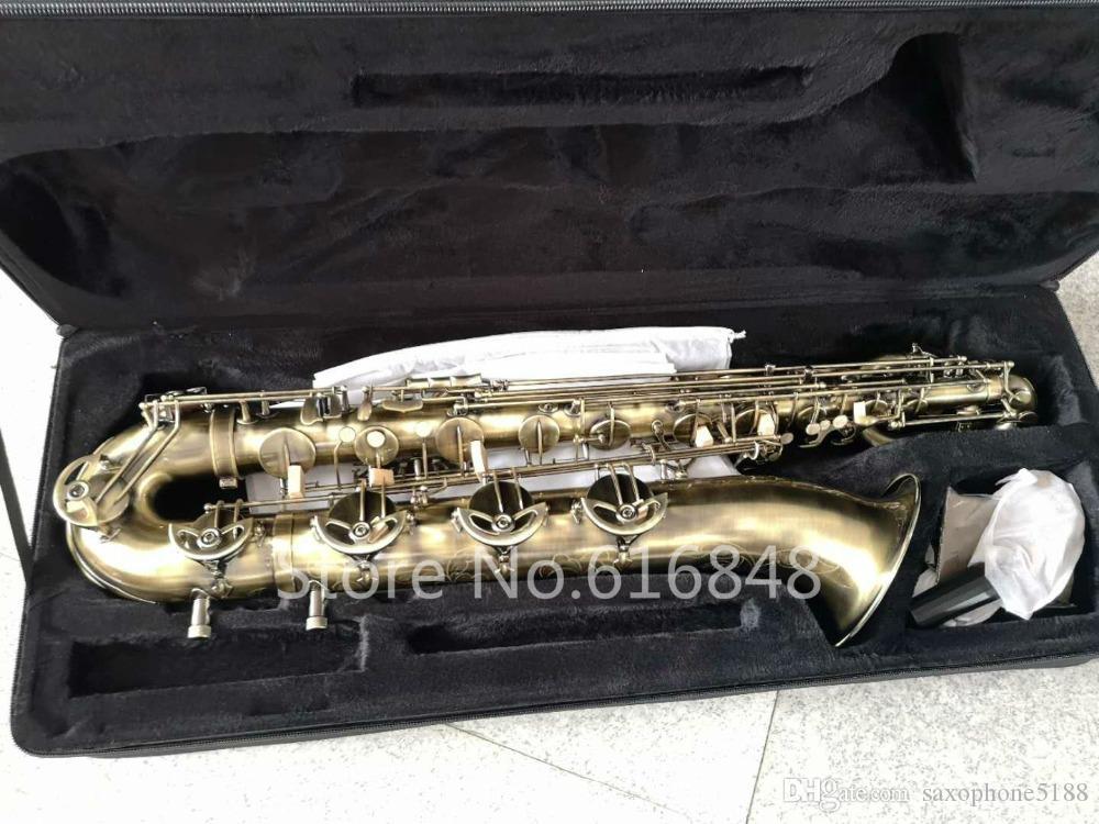 Марочный высокое качество латунь баритон-саксофон античная медь западный музыкальный инструмент может быть настроен логотип саксофон бесплатная доставка