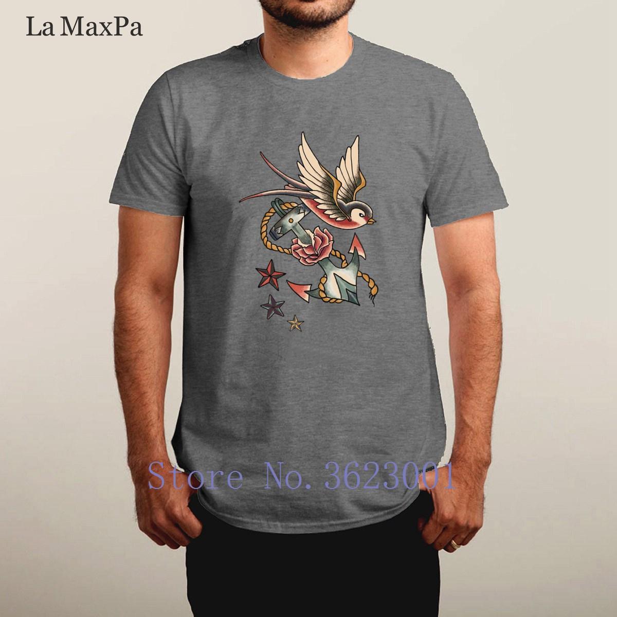 Tasarım Mektupları Retro Dövme erkek Tişörtlü Trendy Temel Katı Tee Gömlek Mizah Yuvarlak Yaka Üst Kalite mens
