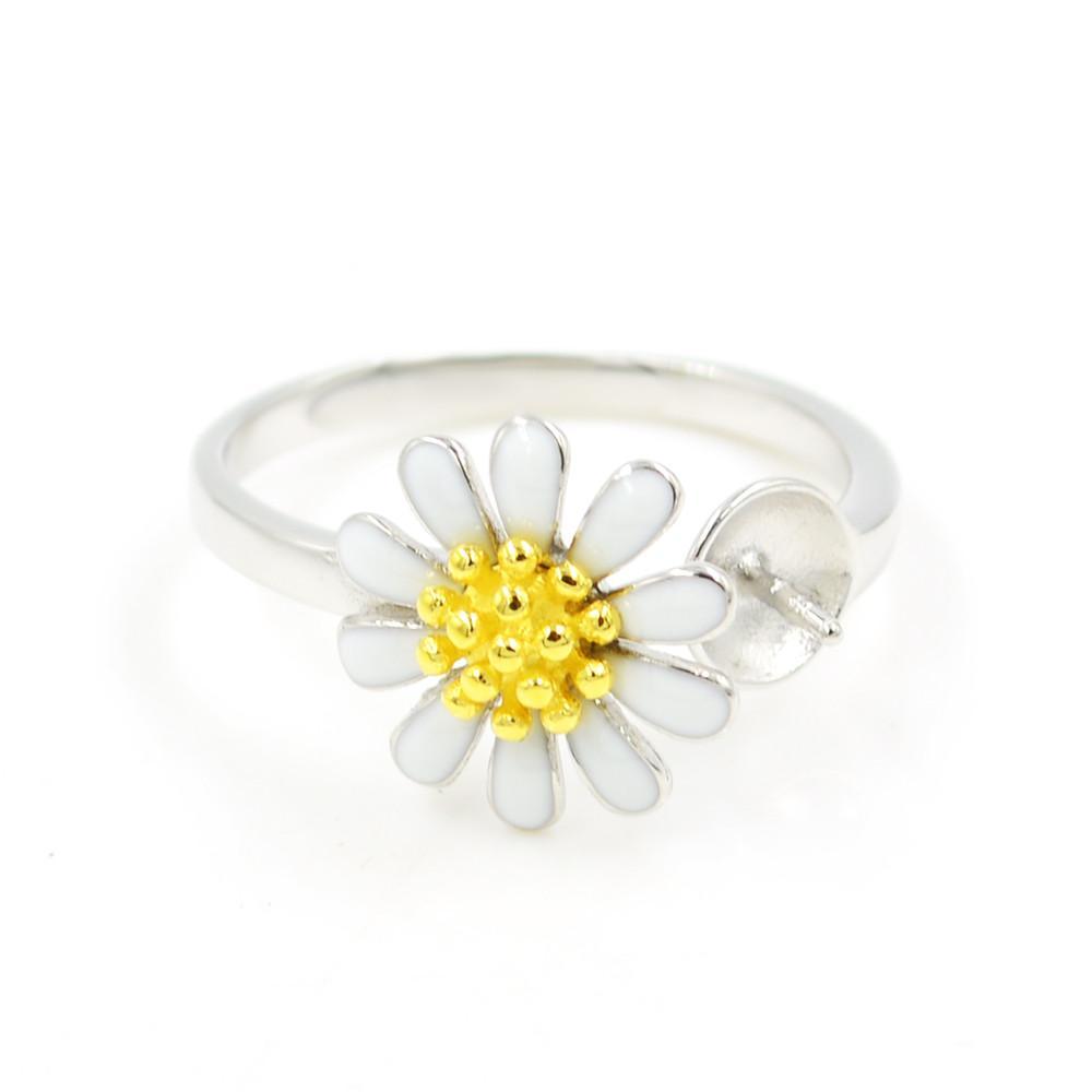 Оптовая продажа S925 стерлингового серебра кольцо крепления Белый Хризант кольцо крепления для женщин ювелирные изделия из жемчуга diy бесплатная доставка регулируемый открытие кольцо