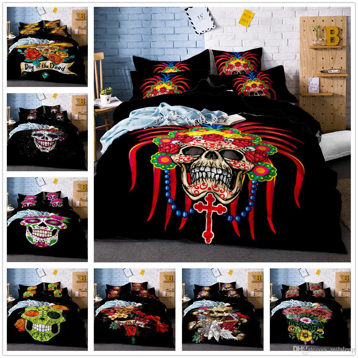 3D Halloween Bedding Set Skull Rose Duvet Cover Quilt Cover Pillowcase Set Black