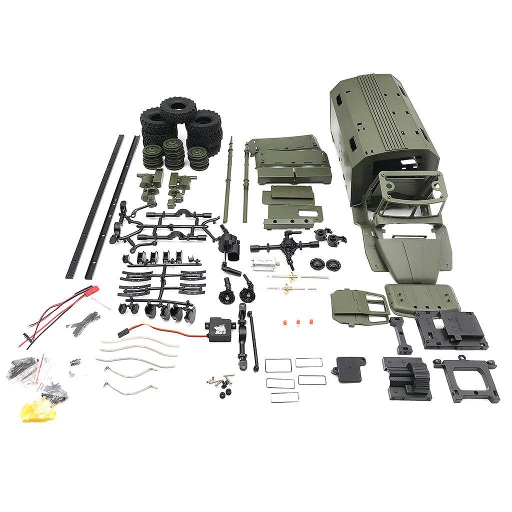 wholesale DIY Unassemble 2.4G 1/16 WPL B36 Military Truck 6WD Car Vehicle Model Kits Rubber Tires 180 Motor