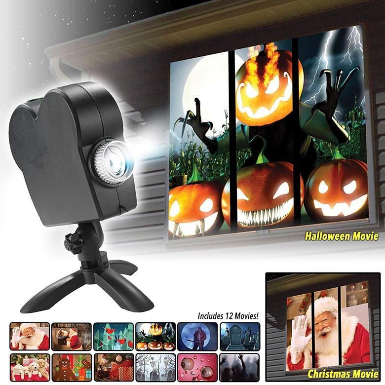 크리스마스 할로윈 레이저 프로젝터 12 영화 디스코 라이트 미니 윈도우 홈 시어터 프로젝터 실내 야외 원더 랜드