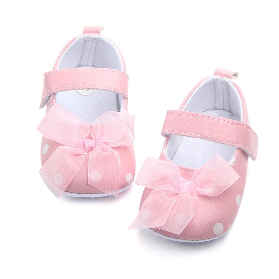 Yenidoğan İlkbahar Yaz Yürüyor Bebek Sevimli Ayakkabı Bebek Kız Bow Dot Yatağı Ayakkabı 0-18 Ay İçin kapalı İlk Walker Anti-slip