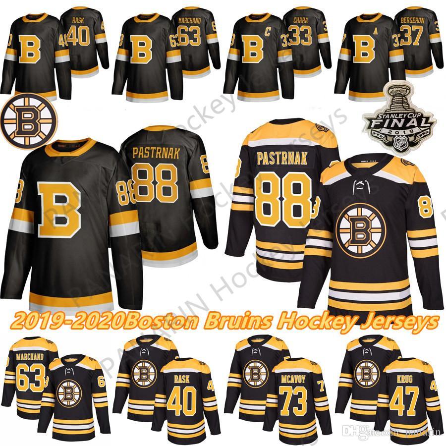 Boston Bruins Hóquei 33 Zdeno Chara 8 Cam Neely 88 David Pastrnak 63 Brad Marchand Charlie McAVoy 74 Jake Debrusk Hockey Jerseys